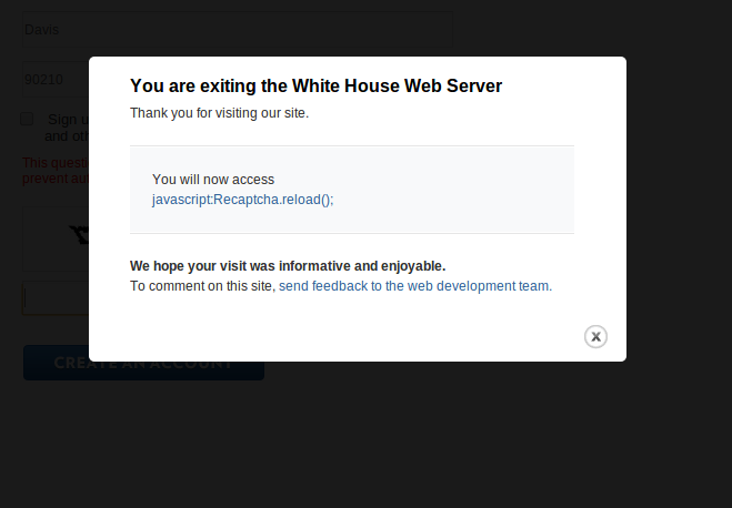 Whitehouse Petition Error